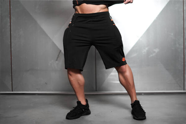 SAMURU Performance Shorts – Black & Dutch Orange
